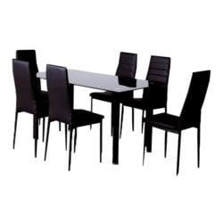 Conjunto comedor emi negro mesa 6 sillas