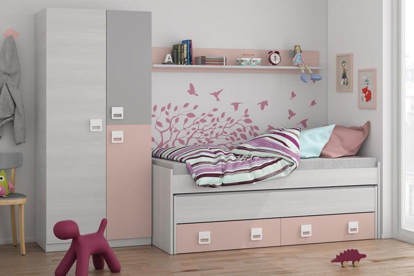 Armario juvenil 3p nube blanco rosa tiendas anticrisis for Armarios para dormitorios juveniles