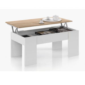 Mesa Elevable Blanco/Roble