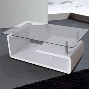 Mesa de centro tapa cristal EVA Blanco