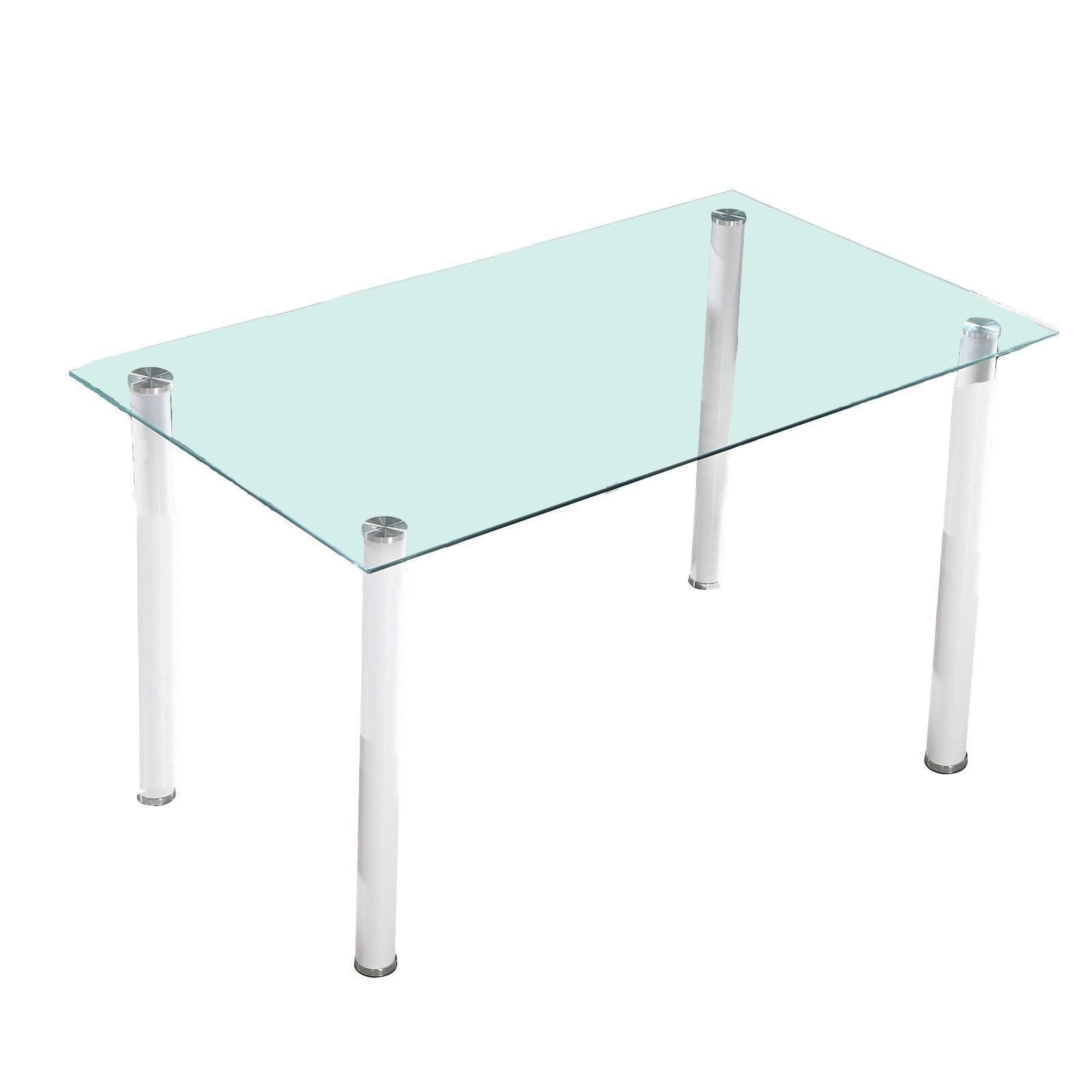 Mesa de comedor star cristal transparente patas blancas for Mesas de comedor cristal transparente