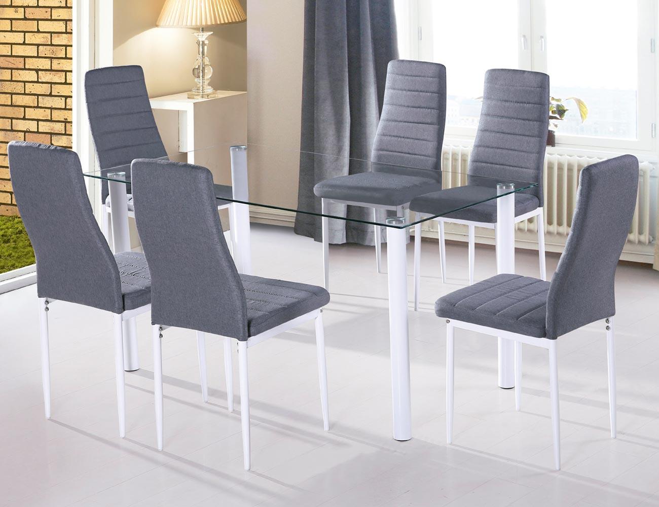 Conjunto Star Mesa transparente + 6 sillas