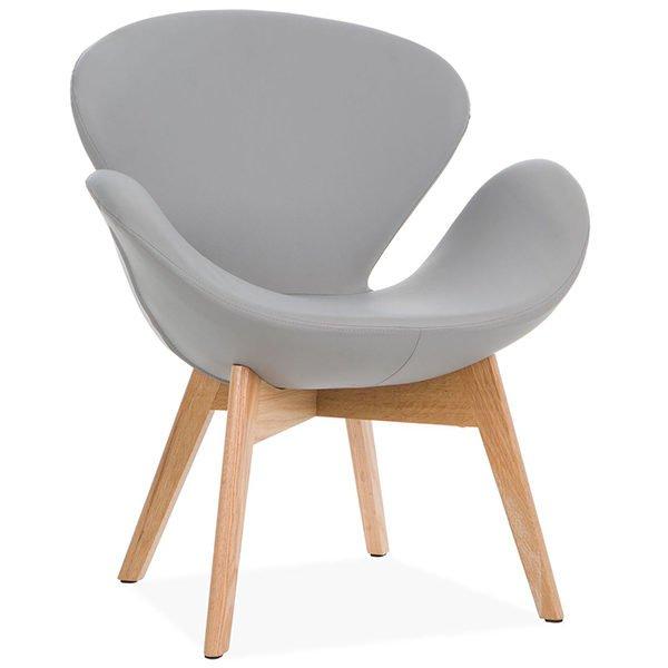 sillón nórdico gris con brazos con forma de cisne