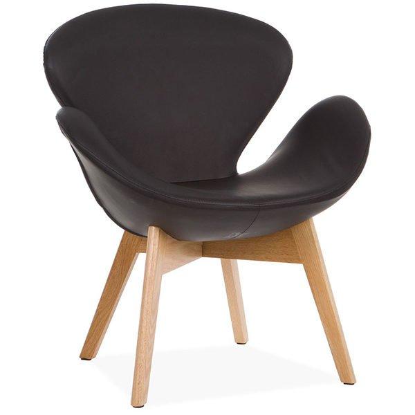 sillón suan con brazos negro con patas de madera en haya maciza