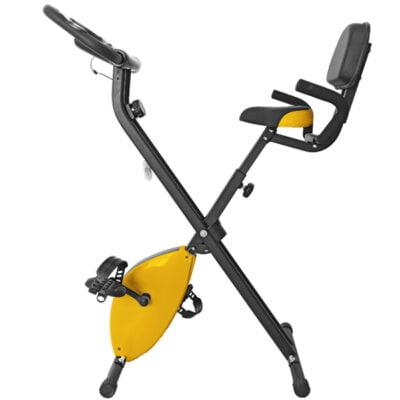 Bicicleta Estática Plegable Con Respaldo Amarillo